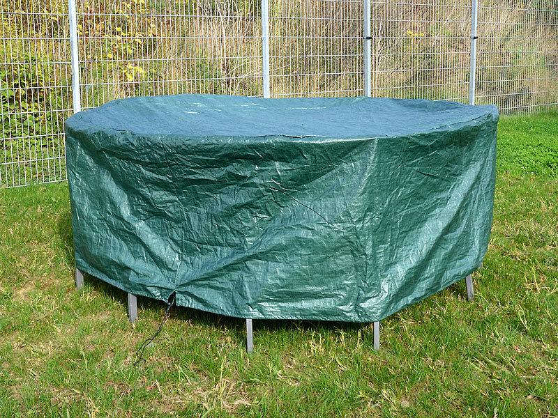royal gardineer gewebe abdeckplane f r runde gartentische 210 x 76 cm x h. Black Bedroom Furniture Sets. Home Design Ideas