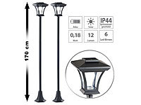 Royal Gardineer 2er-Set Solar-LED-Gartenlaternen SWL-20, 0,18 Watt, 12 Lumen, IP44
